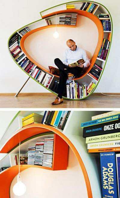 Scaune-mini-biblioteca-cu-rafturi