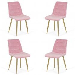 Set 4 scaune pentru bucatarie din catifea pe cadru auriu