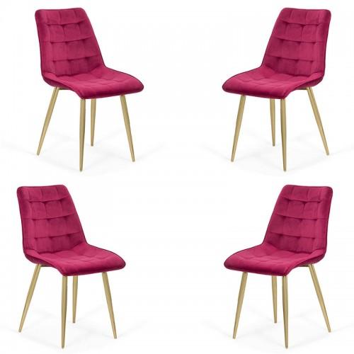 Set 4 scaune pentru bucatarie din catifea pe cadru auriu-visiniu