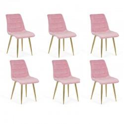 Set 6 scaune pentru bucatarie din catifea pe cadru auriu