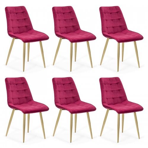 Set 6 scaune pentru bucatarie din catifea pe cadru auriu-culoarea visiniu