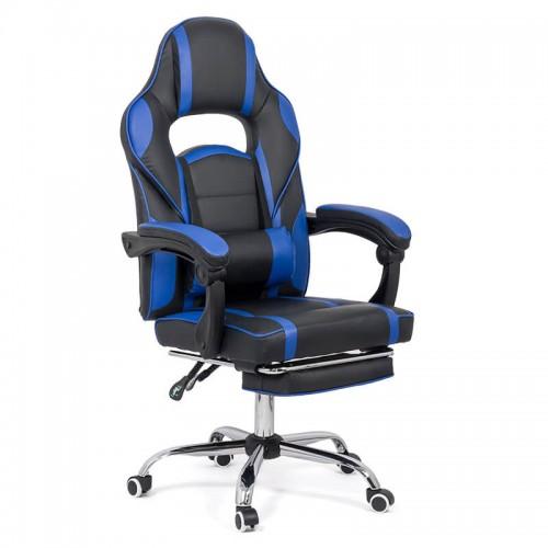 Scaun de gaming cu suport de picioare pe culoarea negru cu albastru
