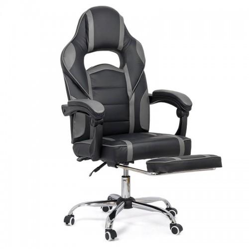 Scaun de gaming cu suport de picioare pe culoarea negru cu gri
