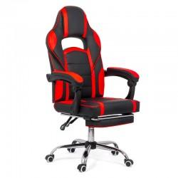 Scaun de gaming cu suport de picioare pe culoarea negru cu rosu
