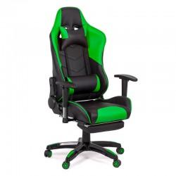 Scaune de gaming cu suport de picioare-negru cu verde