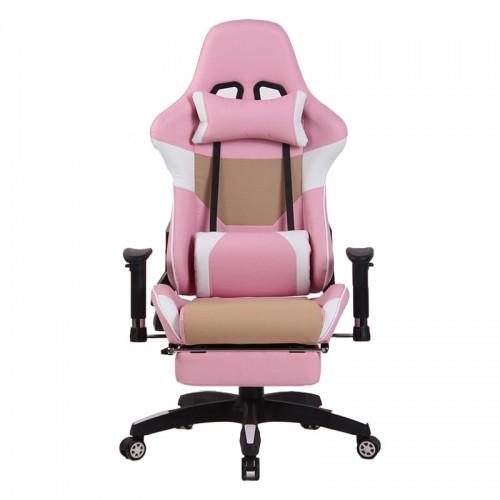 Scaun de gaming cu suport de picioare pe culoarea roz
