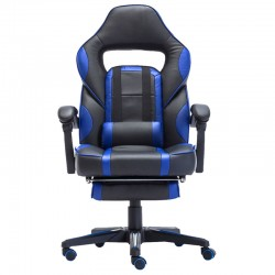 Scaun de gaming cu masaj si suport pentru picioare-albastru