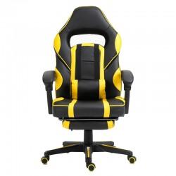 Scaun de gaming cu masaj si suport pentru picioare-galben