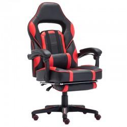 Scaun de gaming cu masaj si suport pentru picioare-rosu