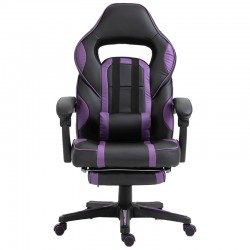 Scaun de gaming cu masaj si suport pentru picioare-mov