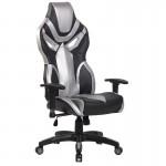 Scaun de gaming cu spatar ergonomic pe culoarea gri-negru