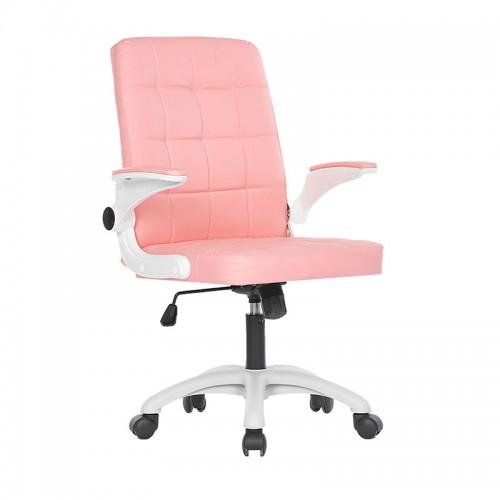 Scaun de birou din piele ecologica pe culoarea roz-025