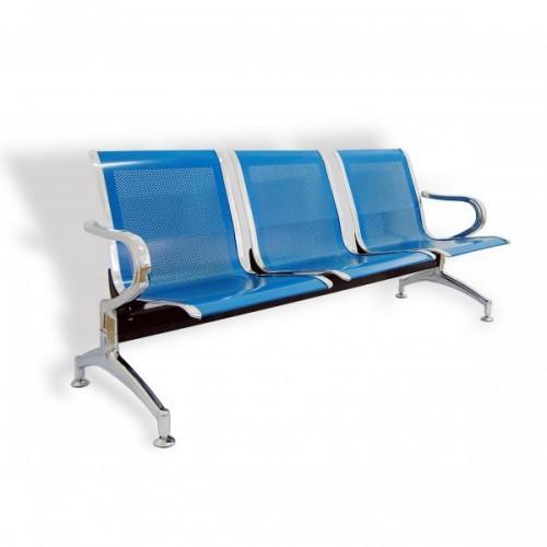 Banca metalica de asteptare cu 3 locuri-albastru