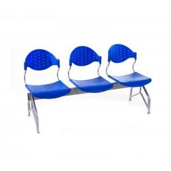 Banca de asteptare cu 3 locuri-albastru
