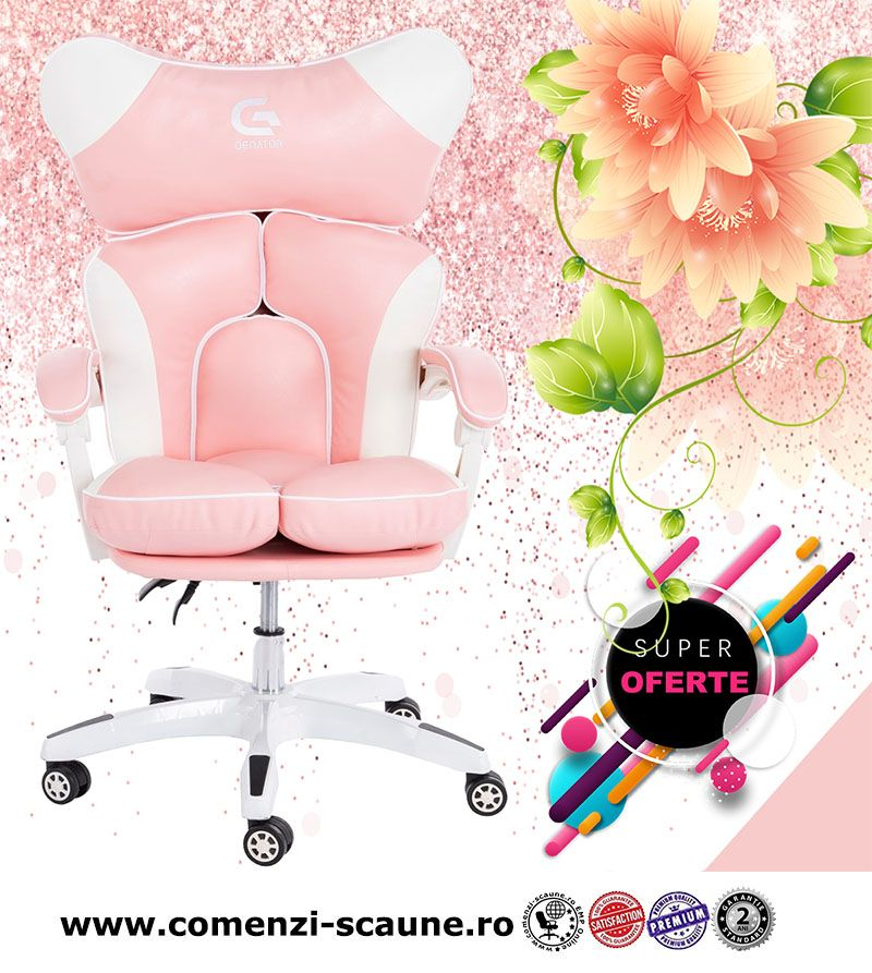 5 modele de scaune pentru birou si gaming pe culoarea roz-pink pentru fete