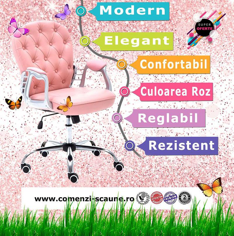 5 modele de scaune pentru birou si gaming pe culoarea roz-pink piele eco