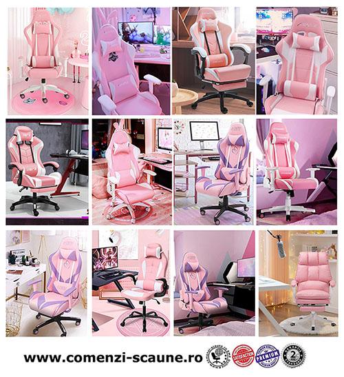 5 modele de scaune pentru birou si gaming pe culoarea roz-pink diverse modele