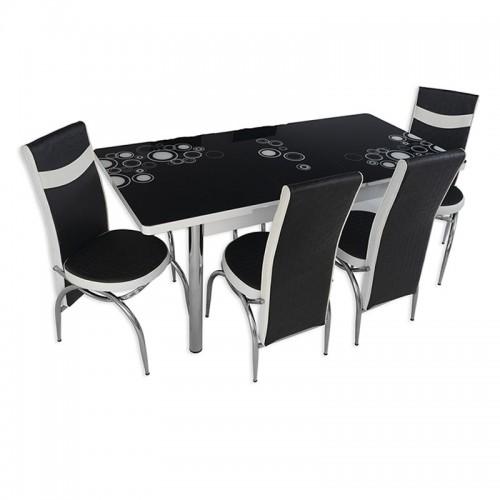 set-masa-extensibila-cu-4-scaune-mdf-blat-sticla-securizata-negru-alb-170-x-70-cm