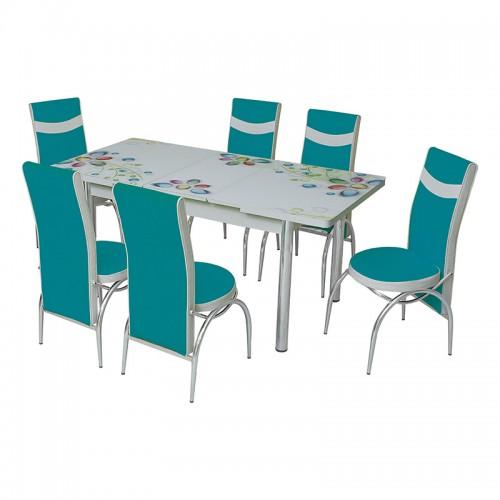 Set masa extensibila Arta Primavera din pal melaminat albastru/alb, 6 scaune