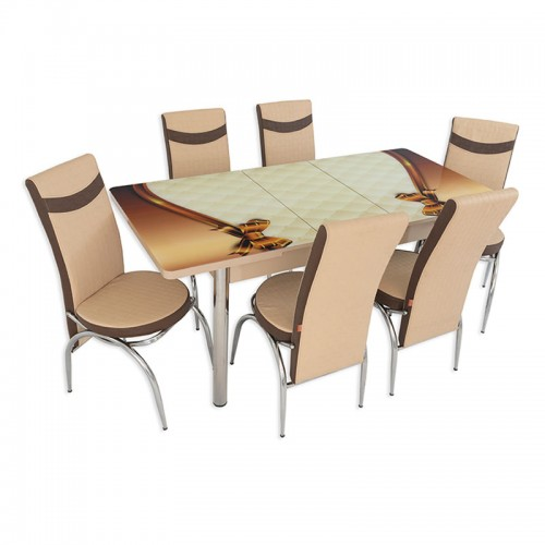 Set masa extensibila cu 6 scaune ARTA Table Queen, PAL melaminat + piele ecologica, crem +maro, 169 x 80 cm