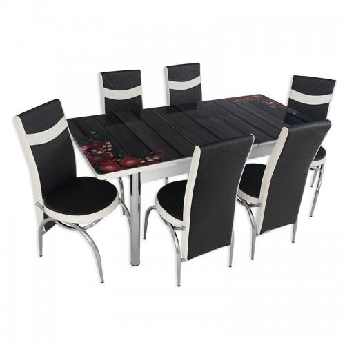 Set masa extensibila cu 6 scaune Arta Table Flori de camp