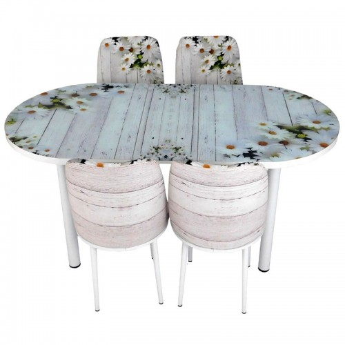 Set masa ovala extensibila cu 4 scaune Lily