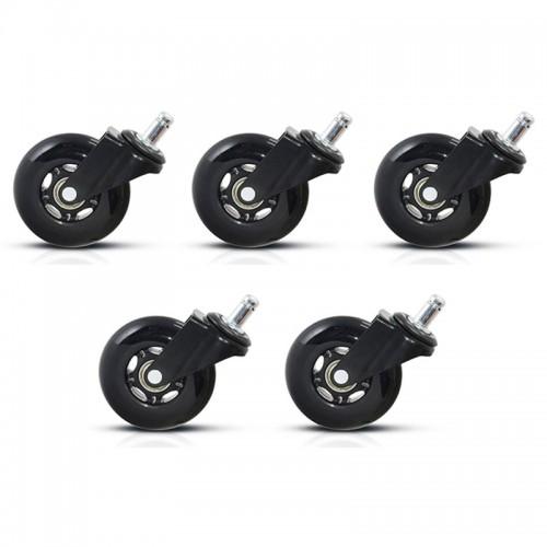 Set 5 roti din silicon negru pentru scaune de birou