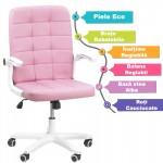 Scaun de birou pe culoarea roz cu brate rabatabile