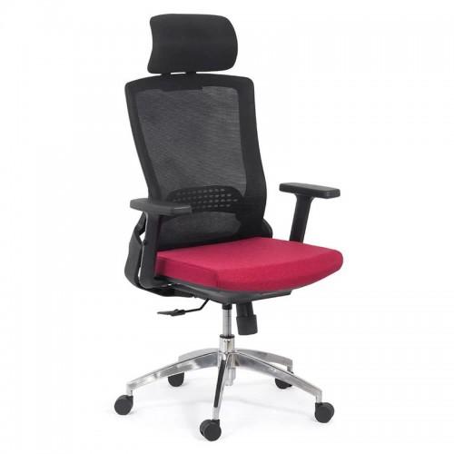 Scaun ergonomic cu brate reglabile si tetiera-rosu- SYYT 9504