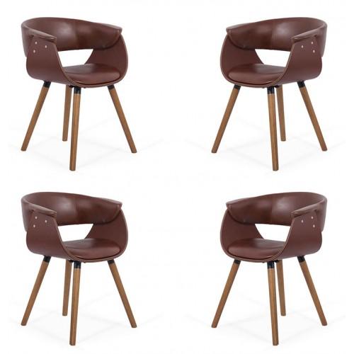 Set 4 scaune de bucatarie si dining cu spatar rotunjit