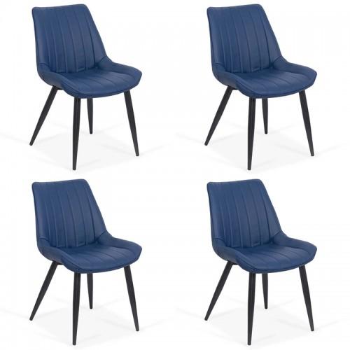 Set 4 scaune bucatarie pe culoarea albastru- Set-4-203-albastru