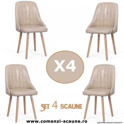 Set 4 scaune de bucatarie si living 204-bej