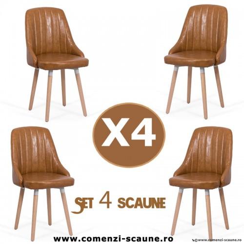 Set 4 scaune de bucatarie si living 204-maro