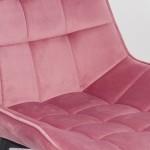 Scaun pentru bucatarie si living din catifea roz pe cadrul metalic