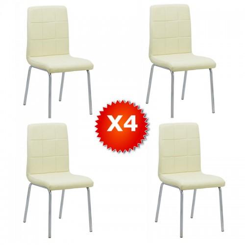 Set 4 scaune de bucatarie piele ecologica culoarea crem