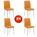 Set 4 scaune de bucatarie piele ecologica culoarea portocaliu