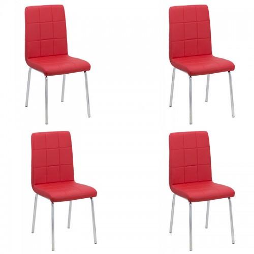 Set 4 scaune de bucatarie piele ecologica culorea rosie