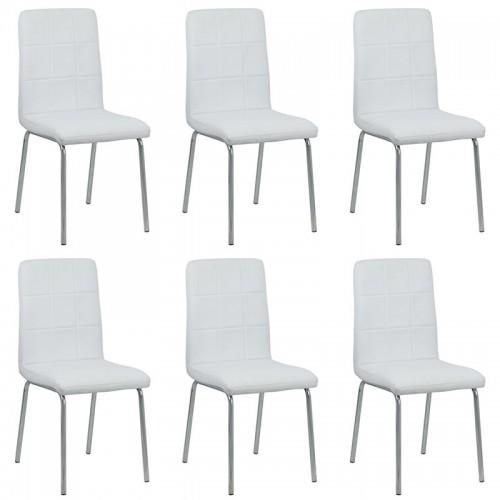 Set 6 scaune de bucatarie piele ecologica culoarea alb