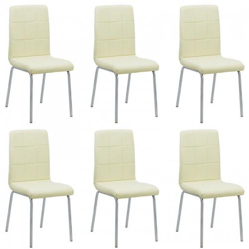 Set 6 scaune de bucatarie piele ecologica culoarea crem