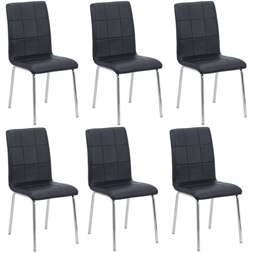 Set 6 scaune de bucatarie piele ecologica pe culorea negru