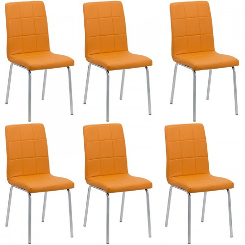 Set 6 scaune de bucatarie piele ecologica culoarea portocaliu
