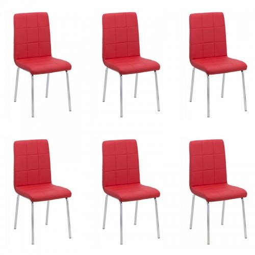 Set 6 scaune de bucatarie piele ecologica culoarea rosie