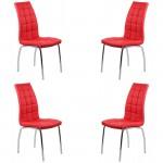 Set 4 scaune de bucatarie cadrul metalic cromat