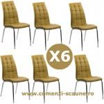 Set 6 scaune de bucatarie cadrul metalic cromat