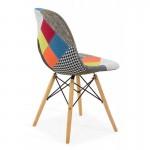 Scaun pentru living și bucătărie din stofa cu picioare din lemn