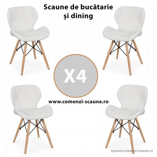Set 4 scaune de bucatarie din piele si lemn-alb