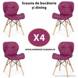 Set 4 scaune de bucatarie din piele si lemn-mov