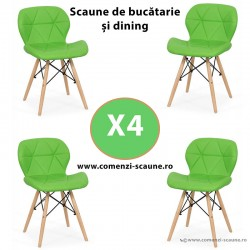Set 4 scaune de bucatarie din piele si lemn-verde