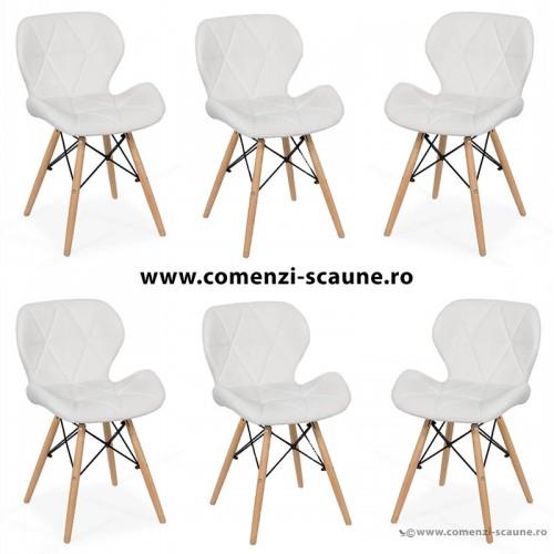 Set 6 scaune de bucatarie din piele si lemn-alb