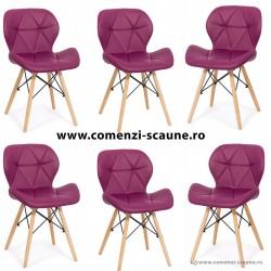 Set 6 scaune de bucatarie din piele si lemn-mov